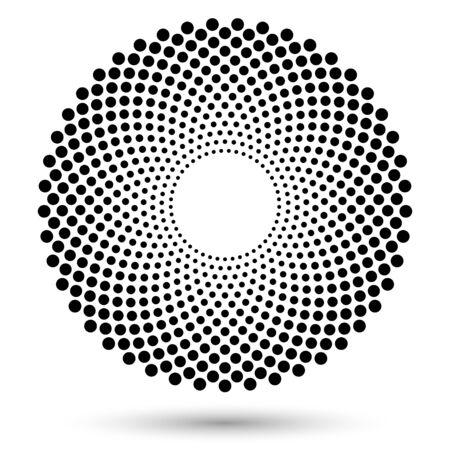 Półtony okrągłe jako ikona lub tło. Rama koło czarny streszczenie wektor z kropkami jako godło. Obramowanie koło na białym tle na białym tle dla swojego projektu. Ilustracje wektorowe