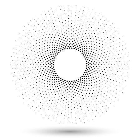 Halftone round as icon or background. Black abstract vector circle frame with hexagons as emblem. Circle border isolated on the white background for your design.