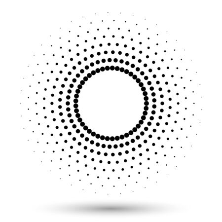 Halftone round as icon or background. Black abstract vector circle frame with dots as  emblem. Circle border isolated on the white background for your design. Ilustrace
