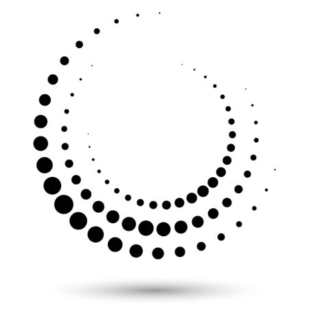 Halftone round as icon or background. Black abstract vector circle frame with dots as emblem. Circle border isolated on the white background for your design.