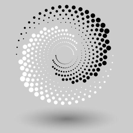 Abstrakter gepunkteter Vektorhintergrund. Halbton-Effekt. Spirale gepunkteter Hintergrund oder Symbol. Yin- und Yang-Stil