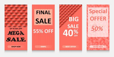 set of stories sale banner background, template photo, can be use for, landing page, website, mobile app, poster, flyer, coupon, gift card, smartphone template, web design