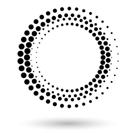 Abstract vector background with halftone dots circle. Creative geometric pattern. Halftone circle frame, abstract dots logo emblem design element for any projects. Round border icon. Vector