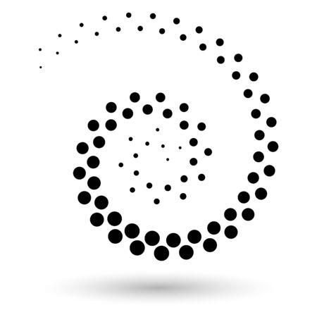 Fondo abstracto del vector punteado. Efecto de semitono. Icono o fondo punteado en espiral