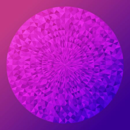 circle with texture like disco ball or shining jewelry on purple background.