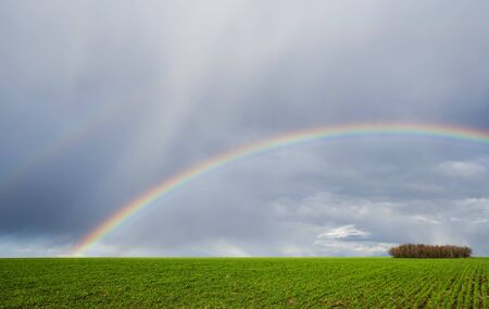 two rainbows over green agriculture field 版權商用圖片