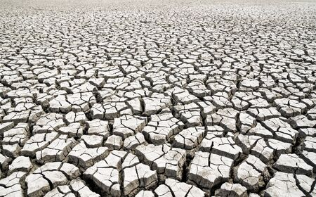 Global warming. Cracked clay without water.