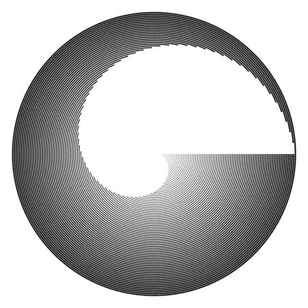 Halftone circle frame, abstract dots emblem design element for any projects. Round border icon.