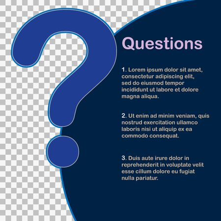Question mark page. FAQ template for layout and design. Stock Illustratie