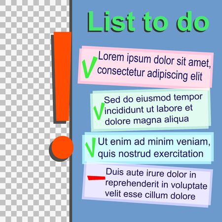 To Do List template with green and red marks Stock Illustratie