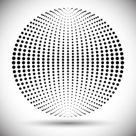 halftone geomrtric item. ball from dots