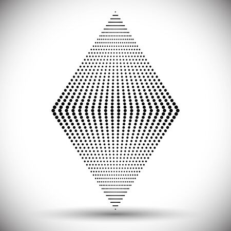 rhombus made of dots of different sizes. Abstract halftone design. 일러스트
