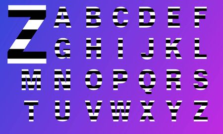 black and white stripes letters. Alphabet like zebra 일러스트