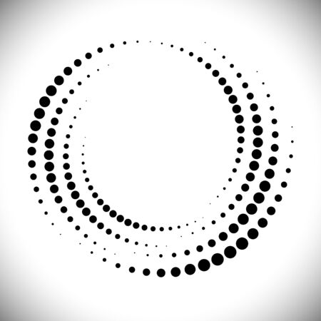 Halftone circle frame, abstract dots emblem design element for any projects. Round border icon. Vector EPS10 illustration. Abstract dotted vector background.