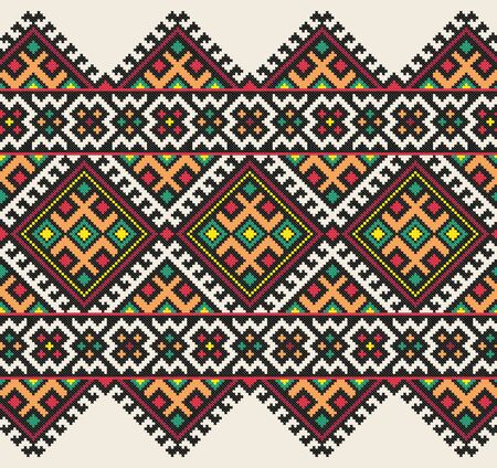 embroidered old handmade cross-stitch ethnic Ukraine pattern. Ukrainian towel with ornament. Rushnyk style in vector 일러스트