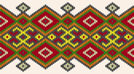 embroidered old handmade stitch ethnic Ukraine pattern. Ukrainian towel with ornament. Rushnyk style in vector