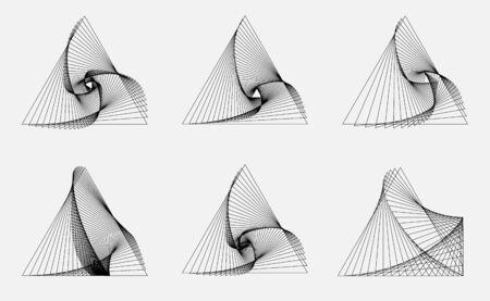 Set of modern geometric line art background. triangles shapes