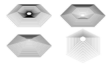 hexagonal shapes lines modern art design