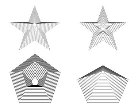 pentagonal shapes lines modern art design