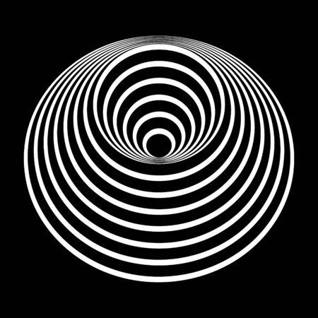futuristic line art. white circles on black background.  Ilustração