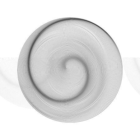 geometric line art. circles background with swirl wave. monochrome design. 일러스트