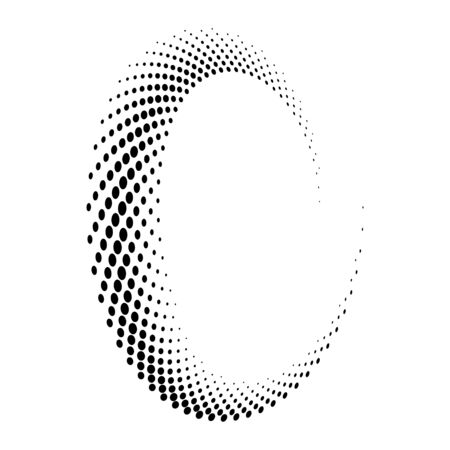 Abstract dotted vector background. Halftone effect. Spiral dotted background or icon