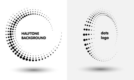 Halftone round as icon or background. Black abstract vector circle frame with dots