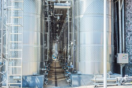 vine tanks in industry factory 스톡 콘텐츠