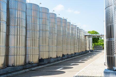 vine tanks in industry factory Stockfoto