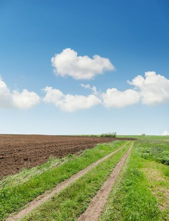 rural road in spring agriculture field and blue sky with clouds