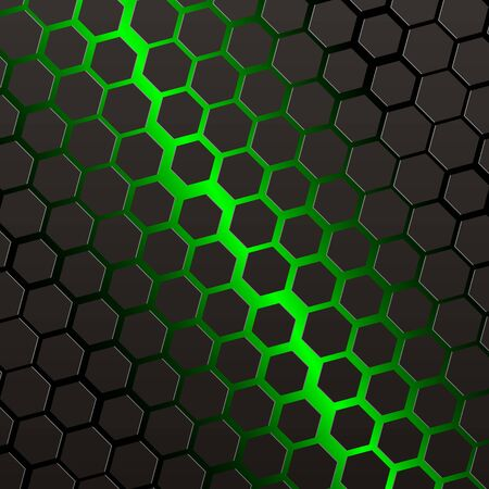 black hexagons with green background Vector Illustration