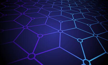 blockchain connected built structure, network concept, computer connection technology