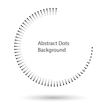 Halftone dots in circle form. Round logo or icon. Vector dotted frame as design element