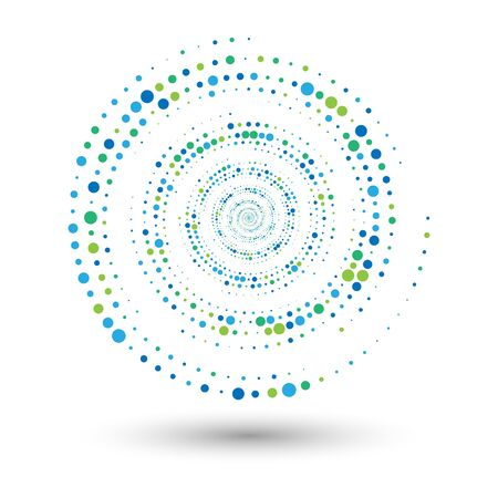 Halftone spiral as icon or background. Abstract vector circle frame with dots as  emblem. Circle border isolated on the white background for your design. Dots of different sizes and colors. Ilustrace
