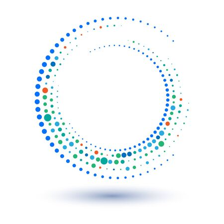 Halftone spiral as icon or background. Abstract vector circle frame with dots as  emblem. Circle border isolated on the white background for your design. Dots of different sizes and colors. Çizim