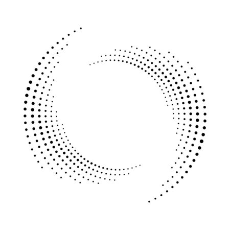 Spiral dots backdrop. Halftone shape, abstract  emblem or design element for any project.  Segmented circle with rotation.