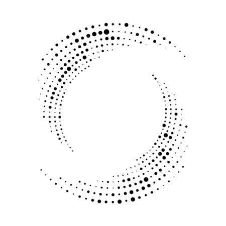Spiral dots backdrop. Halftone shapes, abstract   emblem or design element for any project.