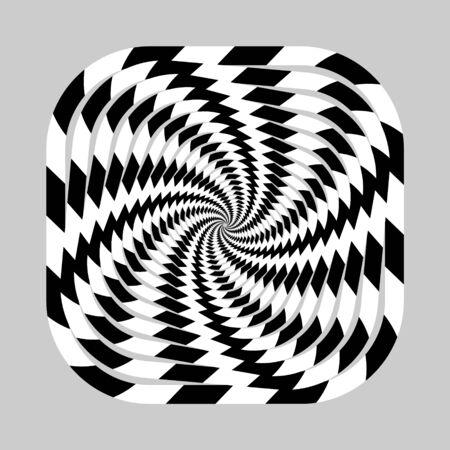 geometric optical illusion. white and black circle pattern