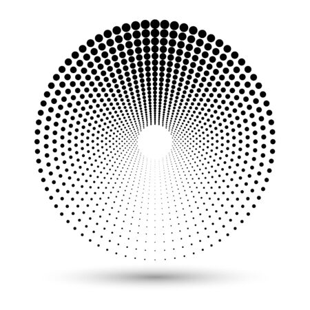 Halftone dots in circle form. Round icon. Vector dotted illustration as design element Vetores