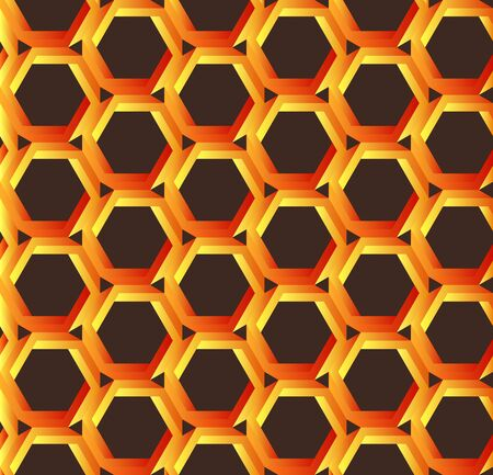 abstract orange hexagonal pattern like honeycomb  object or impossible figure or an undecidable figure.