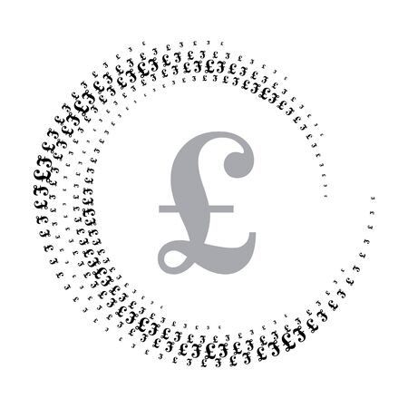 Halftone pound sign in circle form. Round logo or icon. Vector frame as design element. In center is the repeated element. 向量圖像