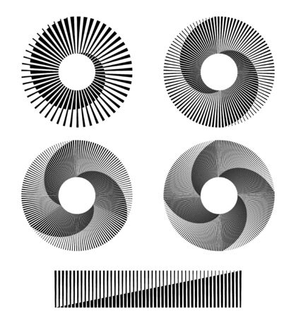 monochrome circle form with halftone lines and transitions 向量圖像