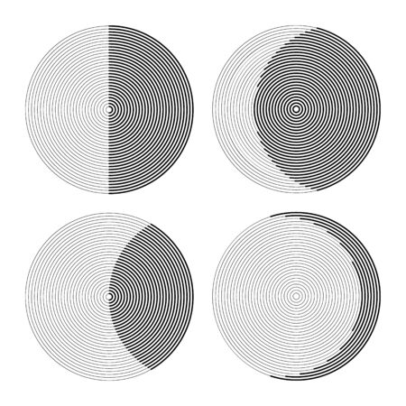 set of circles from lines like phases of moon. monochrome abstract background or icon or logo.