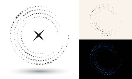 Halftone stars in circle form. Round logo or icon. Vector frame as design element. In center is the repeated element.