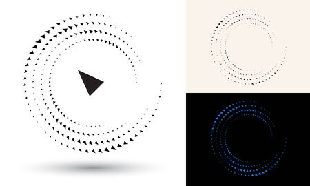 Halftone triangles in circle form. Round logo or icon. Vector frame as design element. In center is the repeated element.