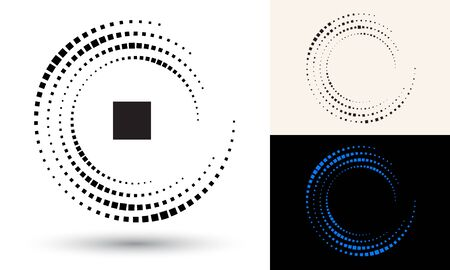 Halftone rectangles in circle form. Round logo or icon. Vector frame as design element. In center is the repeated element.