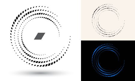 Halftone rhombus in circle form. Round logo or icon. Vector frame as design element. In center is the repeated element. 向量圖像