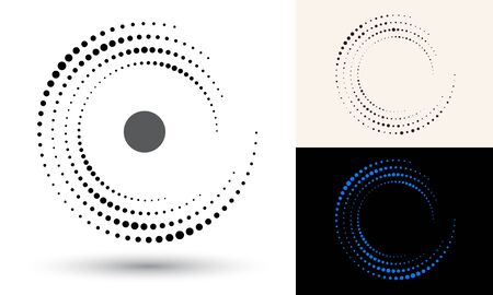 Halftone dots in circle form. Round logo or icon. Vector frame as design element. In center is the repeated element.