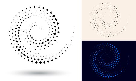 Halftone spiral as icon or background. Black abstract vector as frame with stars for logo or emblem. Circle border isolated on the white background for your design. 向量圖像
