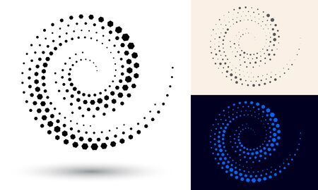 Halftone spiral as icon or background. Black abstract vector as frame with hexagons for logo or emblem. Circle border isolated on the white background for your design. 向量圖像